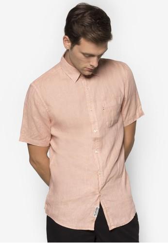 Hampton zalora 順豐亞麻短袖襯衫, 服飾, 襯衫