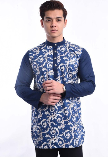 UA BOUTIQUE blue Kurta Batik UAKLB17-041 (L.Blue/ Brown) 55F84AA75473FBGS_1