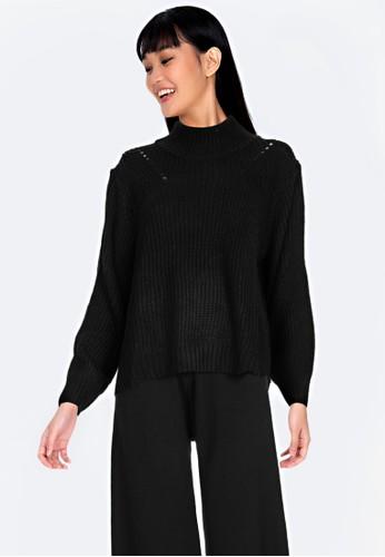 ZALORA BASICS black Oversized Knit Sweater 60916AAE1030E0GS_1