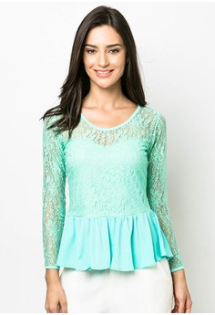 Caylee Peplum Lace Long Sleeve Top