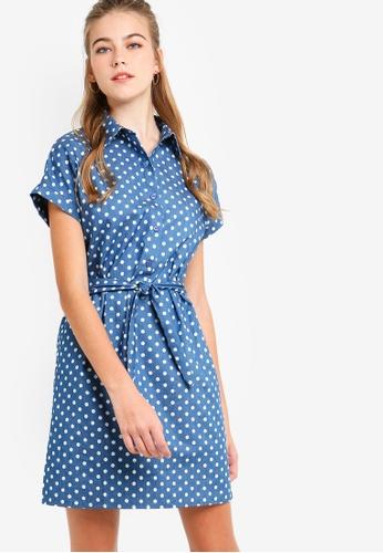 Something Borrowed blue Buttoned Down Tie Shirt Dress 11B6CAAB79E97AGS_1