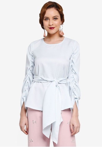 Lubna blue Gathered Sleeve Front Tied Top 68306AAE6C37C5GS_1