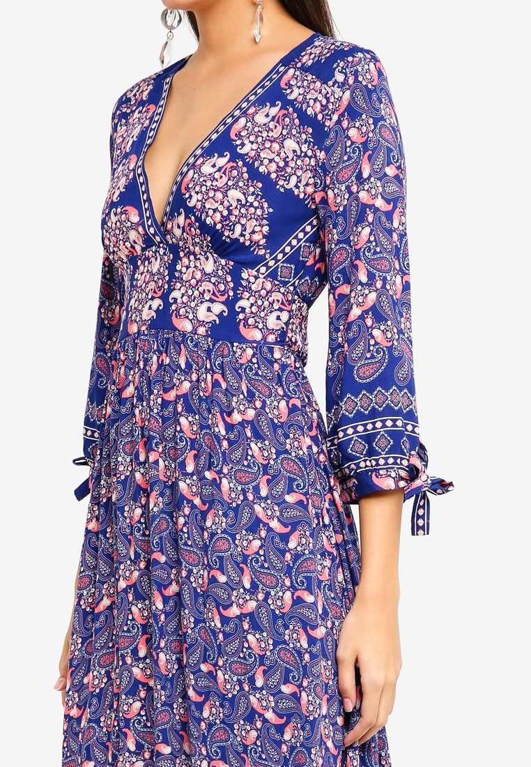 Dress 3 Maxi Floral Floral 4 INDIKAH Sleeve On Print Blue Red H14qrI71cW