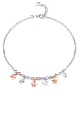MaBelle silver 14K 585 Rose and White Gold Diamond Cut Dangling Star Charm Anklet CAC45ACC8BF9FAGS_1