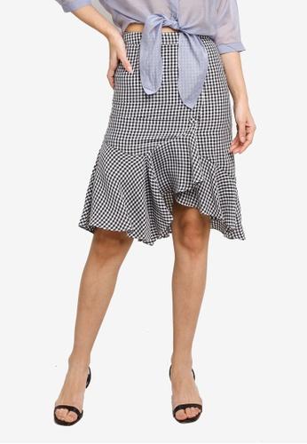 Hopeshow black Ruffle Hem Asymmetrical Checkered Midi Skirt 5BB46AA547DE46GS_1
