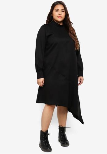 ELVI black Plus Size Black Contrast Dress 4349CAA498C0E5GS_1