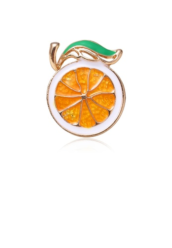 Glamorousky silver Simple Temperament Plated Gold Lemon Brooch 8753CAC47BB11AGS_1