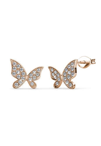 Her Jewellery gold Meadow Butterfly Earrings (Rose Gold) - Made with premium grade crystals from Austria AF43AACE467D4CGS_1