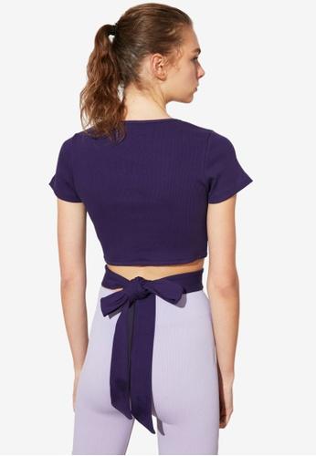 Trendyol purple Tie Back Detail Cut Out Top BE355AACD8DF0CGS_1