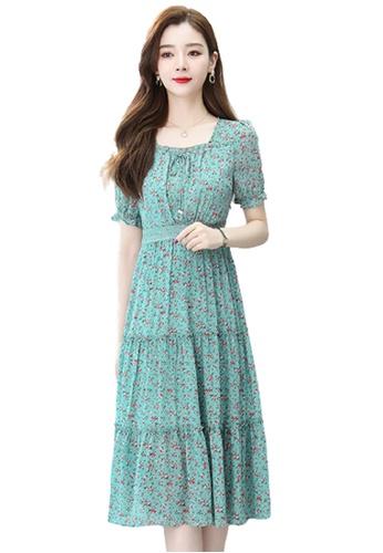 Halo green Floral Printed Chiffon Dress 55512AA237D17BGS_1