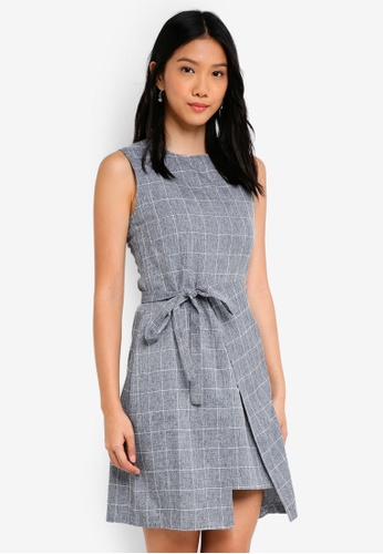 ZALORA blue Self Tie Formal Dress B0117AADF700D0GS_1