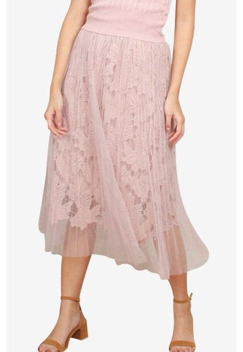 Caoros pink Tulle and Lace Skirt FD680AA368995DGS_1