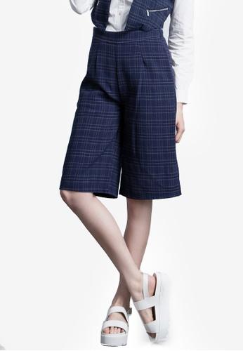 Kodz navy Plaid Culotte Pants 782F4AA3B7528EGS_1