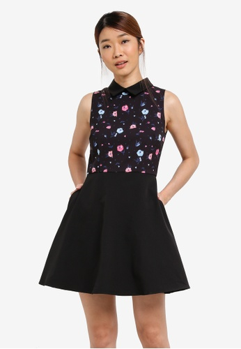 Something Borrowed black Collared Fit And Flare Dress 6D3ACAAA58B4E9GS_1