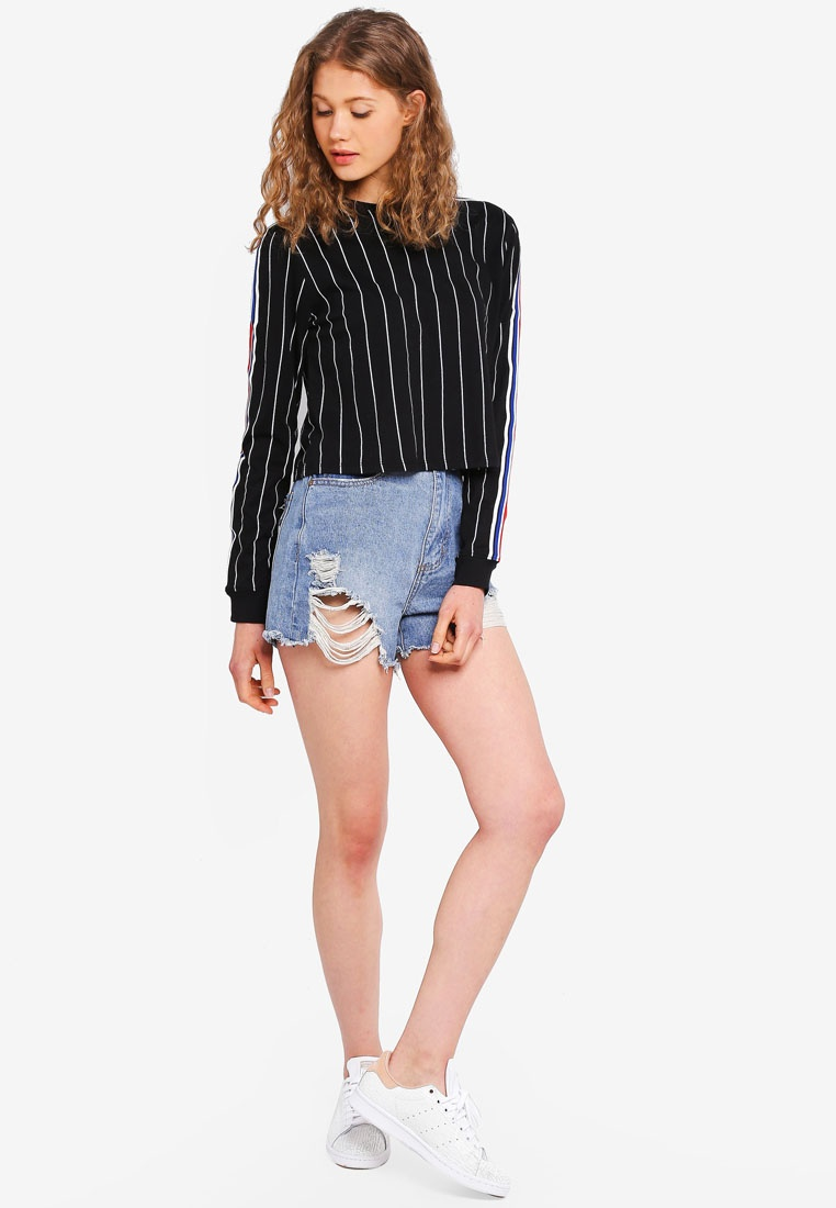 Factorie Top White 90s Pinstripe Tape With Crop Cuffed Long Sleeve Black rRrXwgq