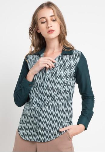 POP U green Manggaran Long Sleeve Shirt 84922AA92D0936GS_1