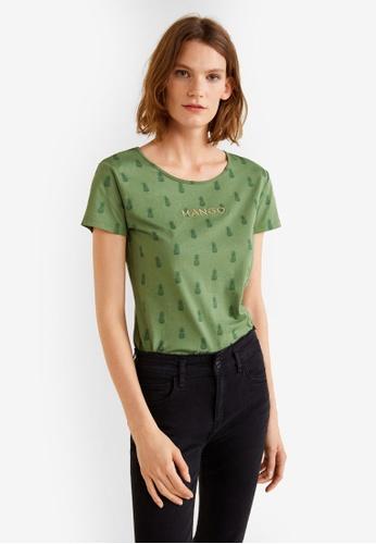 Mango green Printed Logo T-Shirt E039EAAB212E71GS_1