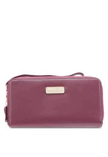Unisa purple Saffiano Double Zip-Up Clutch Wallet UN821AC27LFKMY_1