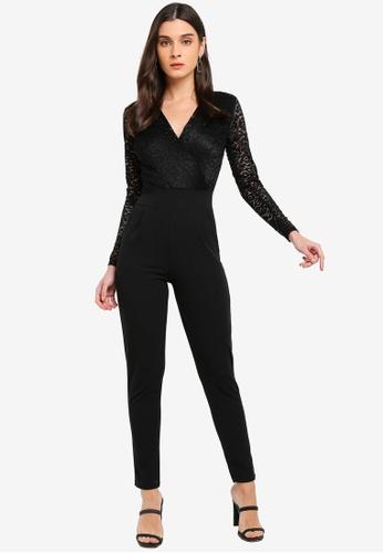 WALG black Long Sleeve Lace Jumpsuit 7B3E7AA78902BCGS_1