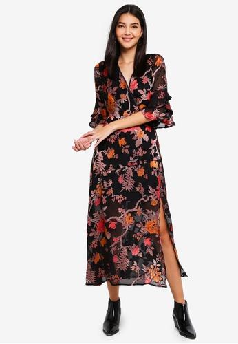 Miss Selfridge black Burnout Floral Maxi Dress C8B7EAA104A4A2GS_1