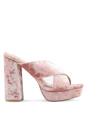 Carlton London 粉紅色 絲絨交叉繞帶粗跟鞋 059DASH36EA9F5GS_1