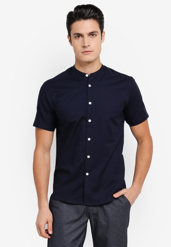 ZALORA navy Slim Fit Mandarin Collar Oxford Short Sleeve Shirt A8568AA5A438BFGS_1