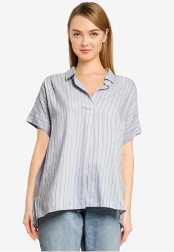 GLOBAL WORK blue Woven Short Sleeves Shirt 4B5DAAAF246EF7GS_1