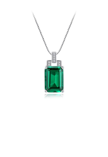 Glamorousky green 925 Sterling Silver Elegant Fashion Geometric Rectangular Green Cubic Zircon Pendant with Necklace 04086AC4CD64A7GS_1