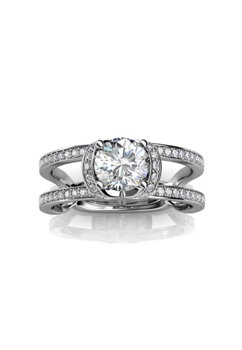 Her Jewellery silver Swarovski® Crystals - Lois Ring (18K White Gold Plated) Her Jewellery HE581AC0RD8NMY_1