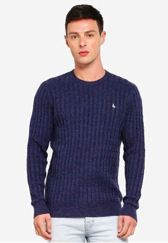Jack Wills 海軍藍色 Marlow Cable Crew Jumper 3F504AA286E1FCGS_1