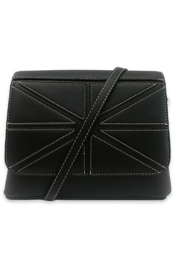 RUCINI black Rucini Stitched Flap Crossbody Bag 23437AC03EC9C7GS_1
