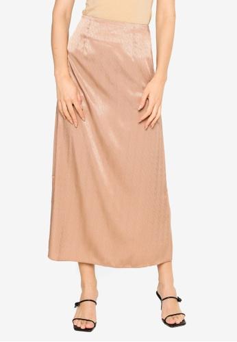 Summer Shop brown Andrea Satin Skirt 93FA0AAFF2F367GS_1
