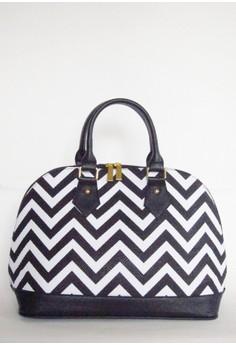 Chevron Print Top Handle Bag