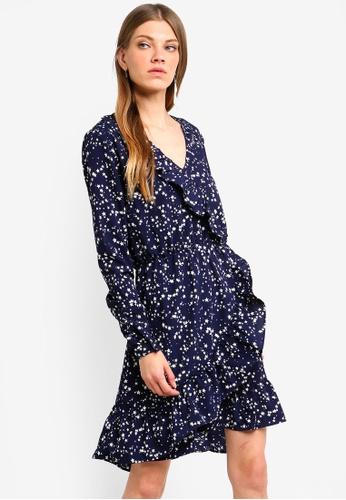 696c4a05d4cf Brave Soul blue Long Sleeve Wrap Dress With Ruffle Detail F3C5CAAE2D13A0GS 1