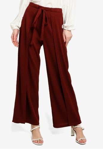 Zalia red Textured Front Tied Pants EC78AAAD79E0DEGS_1