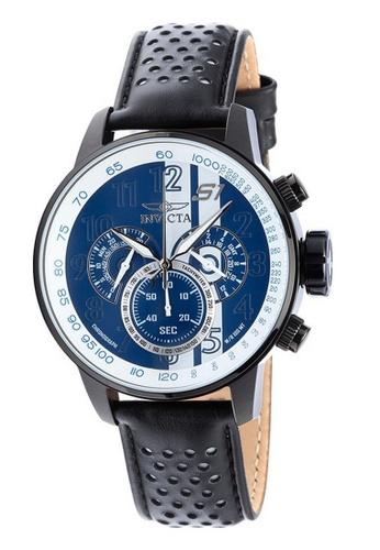 INVICTA black Invicta S1 Rally Men 48mm Case Black, White Leather Strap Blue Dial Quartz Watch 19293 IN968AC0F5D0SG_1