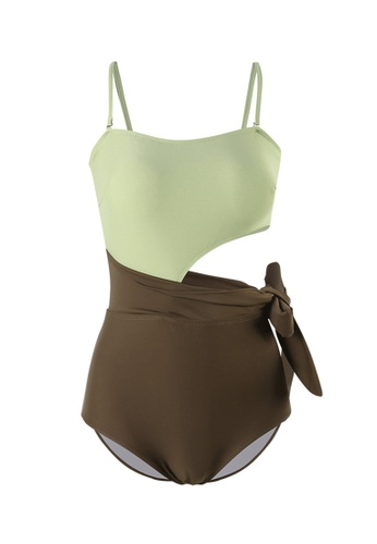 ZITIQUE green and brown Women's Non-wired One-piece Swimsuit - Green and Brown A23F9US1A9B94DGS_1