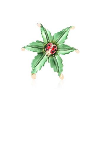 Glamorousky black Fashion and Elegant Ladybug Green Leaf Brooch with Cubic Zirconia C9B97AC18EA662GS_1