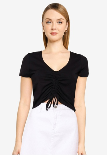 Cotton On black Sami Gather Front Short Sleeve Top 15AE4AA401C0F9GS_1