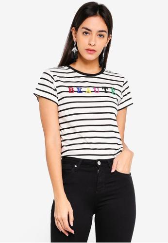 Miss Selfridge black Beaute Stripe Embellished Tee 201D7AAD6B2265GS_1