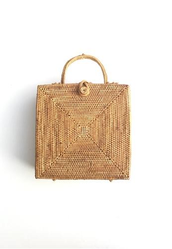 b6b5ffdfef1a ASHLEY SUMMER CO brown Square Woven Rattan Bag - Beach Straw Basket Bag  1E8F8ACF18B7CEGS 1