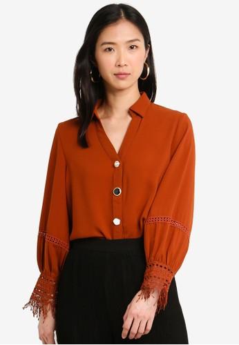 bYSI orange Lace Cuff Button Shirt F7875AA98408CBGS_1