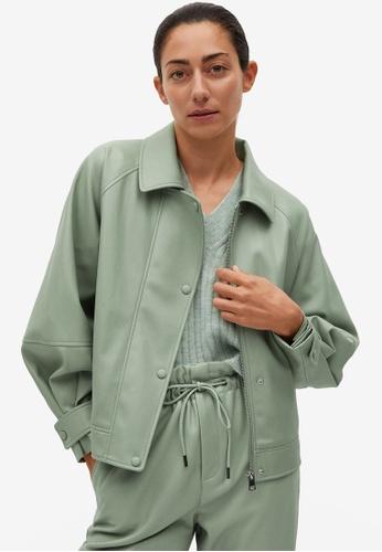Mango green Puffed Faux-Leather Jacket 8B046AADCF7504GS_1