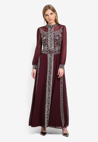 Miss Selfridge red Premium Grace Embellished Maxi Dress MI665AA0S6FDMY_1