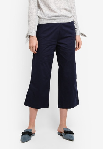 Mango blue Contrast Trim Trousers AF782AA44994F9GS_1