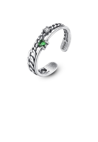 Glamorousky green 925 Sterling Silver Fashion Simple Openwork Green Cubic Zirconia Adjustable Open Ring 5D9A9AC46FE1CAGS_1