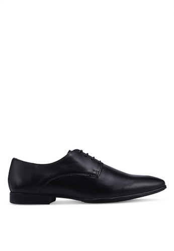 Topman black Black Leather Fly Derby Shoes 17F33SH6D9FC75GS_1