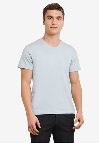 ZALORA blue V Neck Short Sleeve Tee 831B2AAB304BD4GS_1
