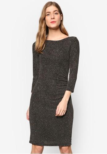 點點印花七分袖貼身連身裙, 服飾,esprit outlet 旺角 服飾