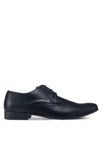 Burton Menswear London black Black Leather Look Formal Derby Shoes 3DAD9SHF719E1AGS_1